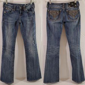 Miss Me Boot Cut Distressed Jeweled Trim Jeans 26*